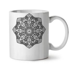 Grey Mandala NEW White Tea Coffee Mug 11 oz   Wellcoda