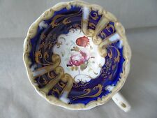 Antique Victorian Cobalt Blue & Floral Footed Cabinet Cup