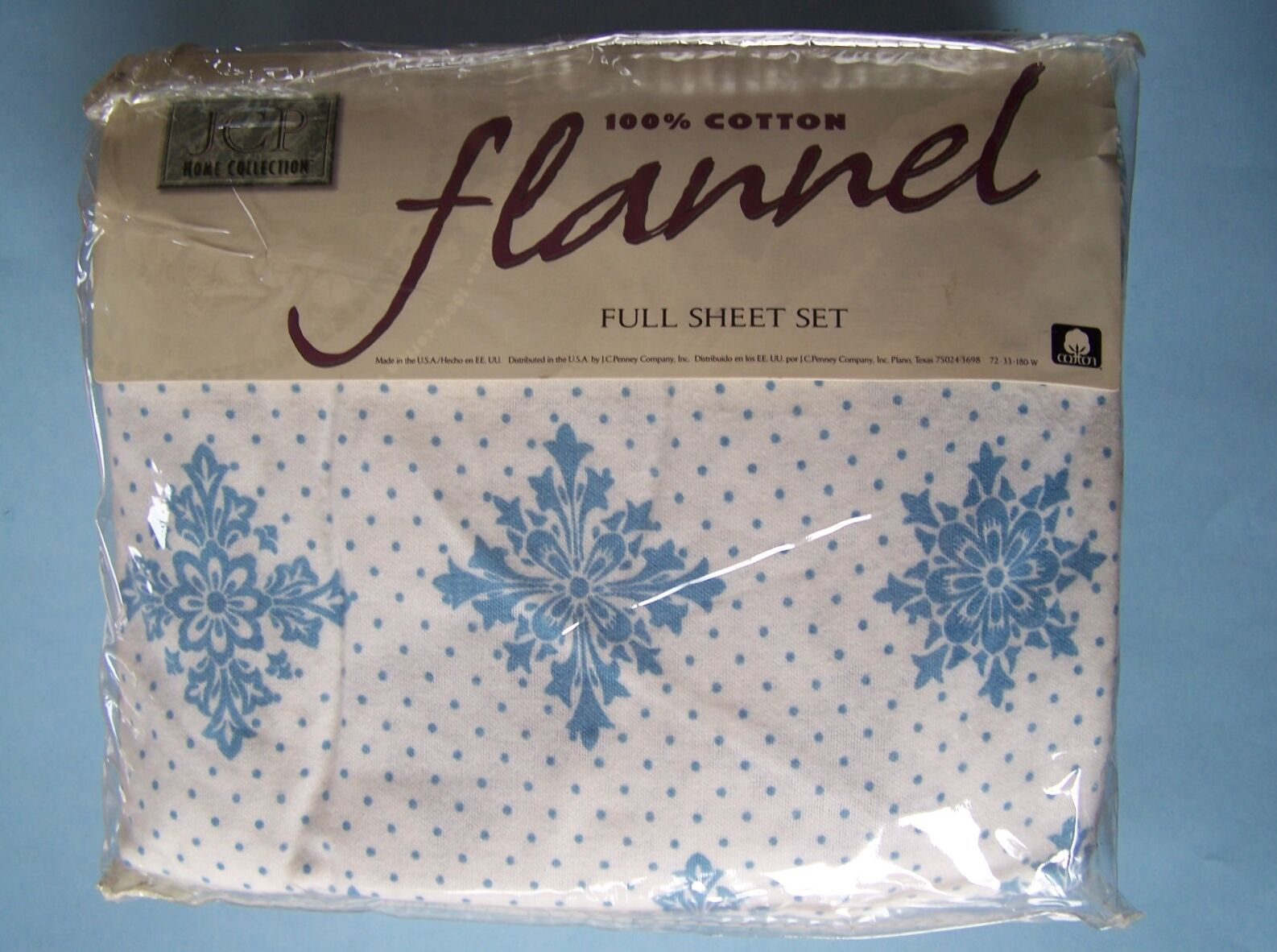 JCP Home Collection SNOWFLAKE FLANNEL FULL SHEET SET Ocean blueeeee Cool White NEW