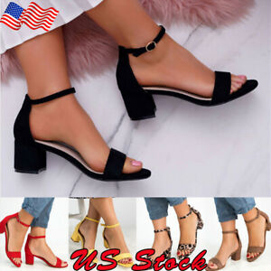 Women-039-s-Buckle-Open-Toe-Ankle-Strap-Chunky-Heels-Sandals-Shoes-Size-5-8-NEW
