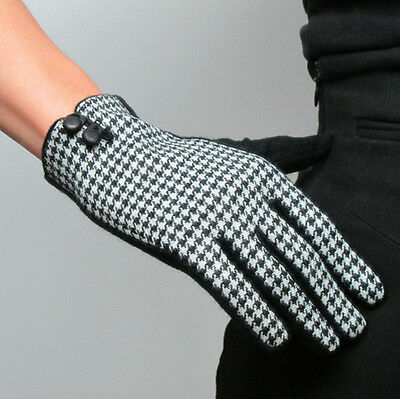 Plaid Gloves Tweed Wool Swallow Gird Knit Houndstooth Leather Button Rabbit Hair