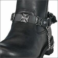 Chaine de botte en cuir Croix de Malte Vets metal Black leather boot moto custom