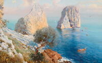 Art oil painting beautiful seascape with boat on ocean and huge rocks canvas