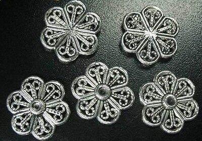 70 Pcs Tibetan Silver filigree flat flower links FC65