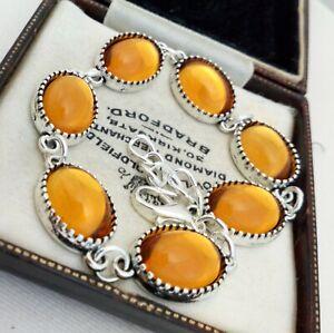 Vintage-1980s-CZECH-Amber-Honey-Yellow-Glass-Small-Oval-Cabochon-Bracelet