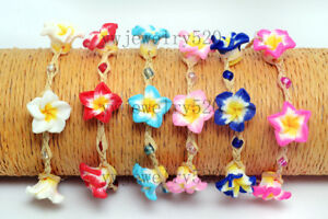 Wholesale-Lots-12pcs-Cords-Flower-FIMO-polymer-clay-Silver-Plated-Bracelets-FREE