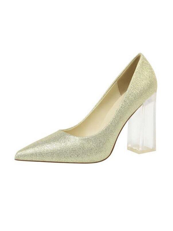 Éscarpins chaussures Transparent Élégant or Talon Carré 10 Cuir Synthetique 1743