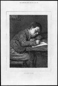 1874-FINE-ART-Antique-Print-The-Valentine-William-Holman-Hunt-Boy-Letter-40