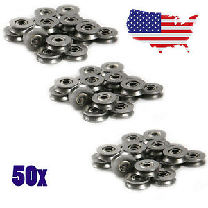 50Pcs Metal V Groove Guide Pulley Rail Ball Bearings Wheel 3*12*4mm US