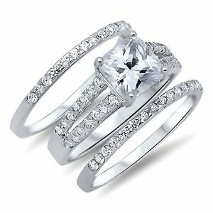 image is loading women s 2 75 ctw princess cut 925 - Cz Wedding Ring Sets