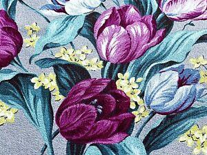 SALE! Dancing Romantic TULIPS Barkcloth Vintage Fabric Drape Curtain 30s Cottage