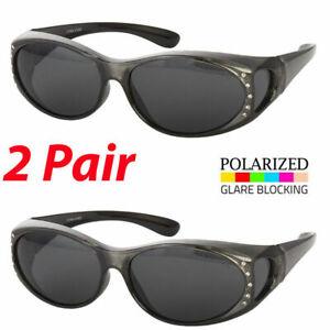cefc09fa5 2 Pair POLARIZED Rhinestone cover put over Women Sunglasses Rx glass ...
