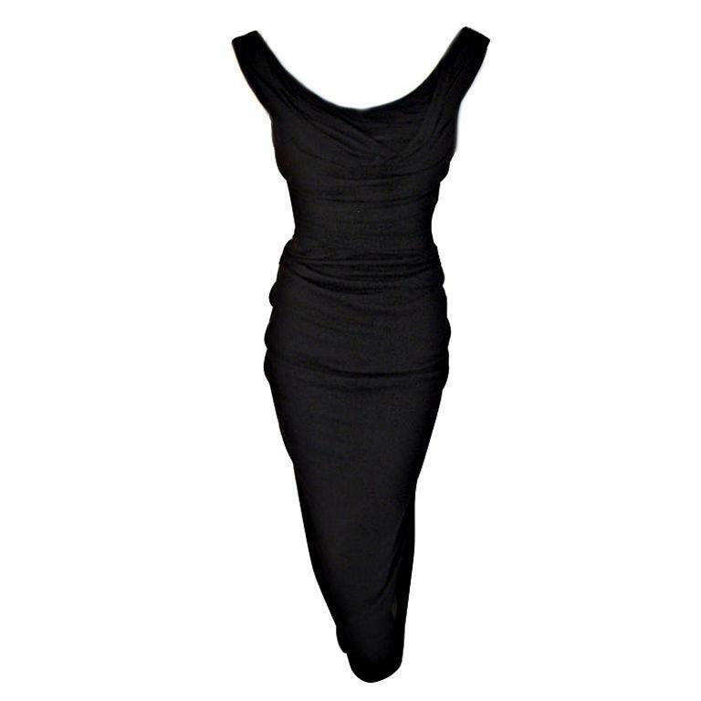 CEIL CHAPMAN 1940s Vintage Black Cocktail Dress - image 1