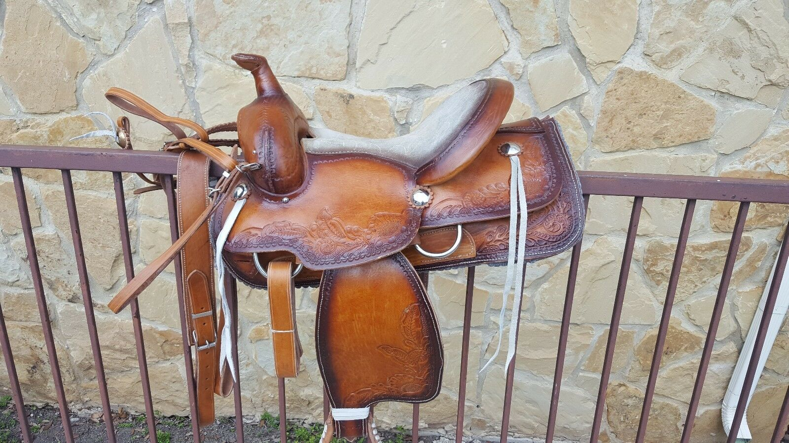 SPANISH GENUINE LEATHER RANCH SADDLES  AT TEXAN STYLE- NEW- BROWN  factory outlet