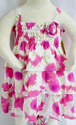 Penelope Mack Dress Girls Blue Green Pink Panties Lined Floral Diaper Cover