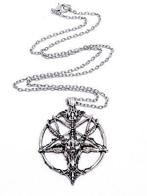 Bague Baphomet en Acier Pentagramme Gothique Occulte Satan Diable France