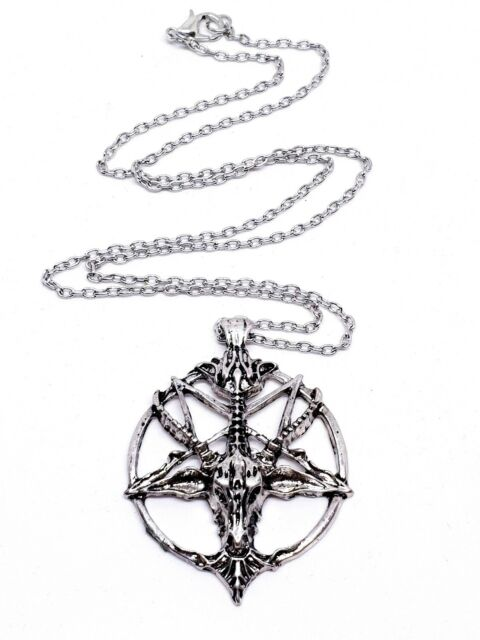 Baphomet Devil Satan Goat Head Occult Pentagram Necklace Silver Chain Pendant