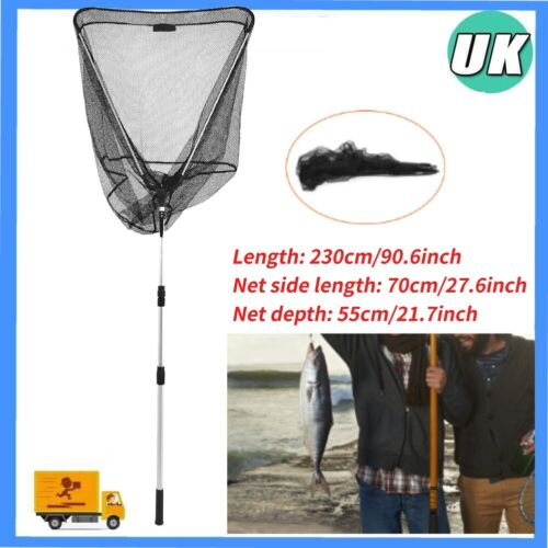 """90/"""" Inch Large Carp Pike Fishing Landing Net With dual 1 Net Floats NGT Tackle"""