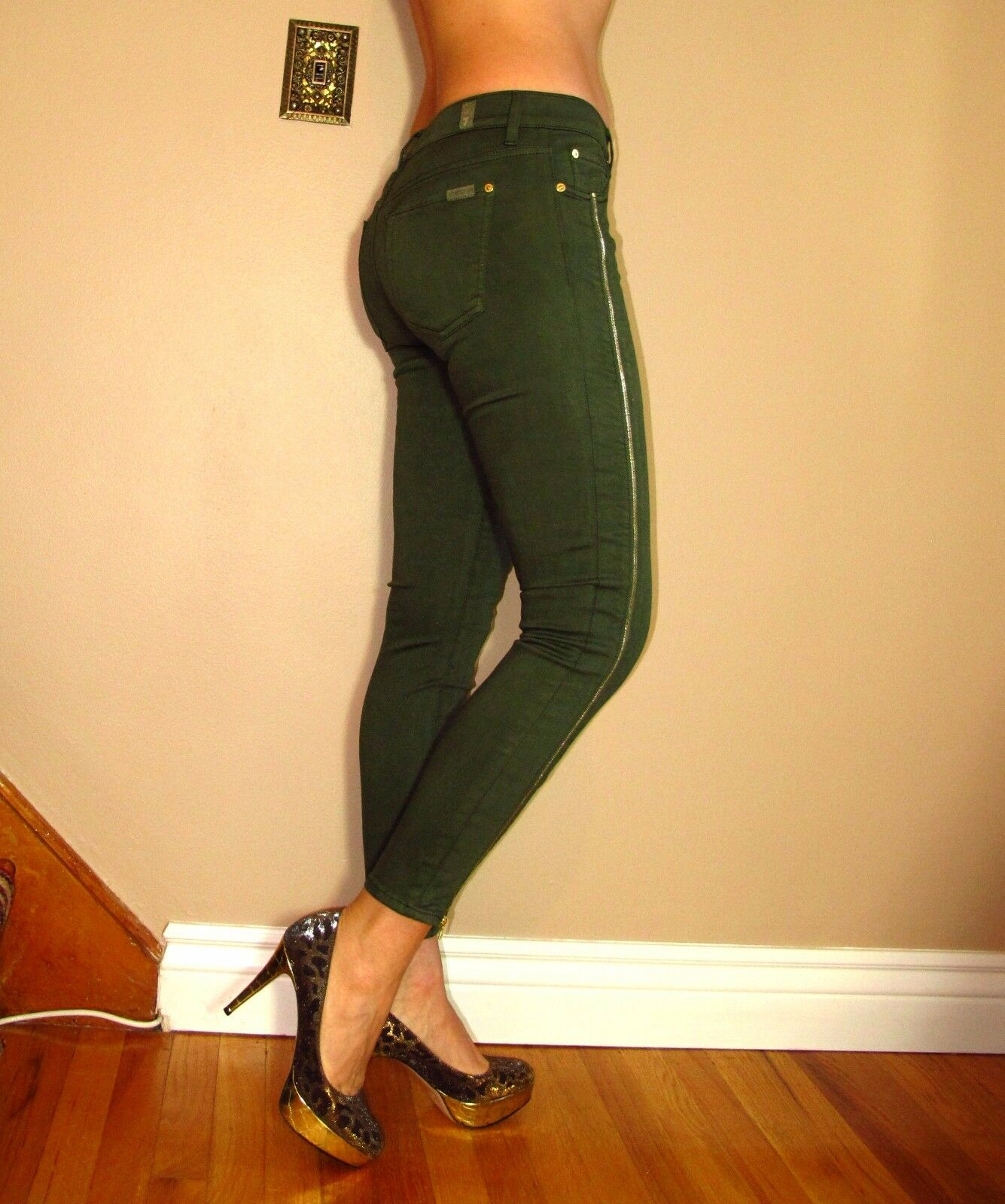 Seven 7 For All Mankind  Skinny Dark Army Green gold Zipper Olive Jeans 29