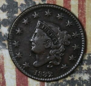 1832 Coronet Head Copper Large Cent Medium Letters Collector Coin FREE SHIPPING