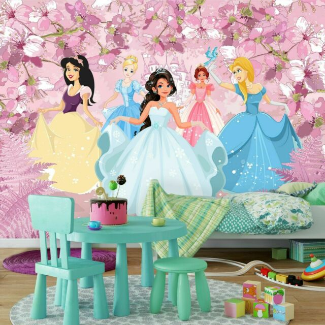 Girl/'s bedroom wallpaper murals 254x184cm Disney Princesses pink photo wall