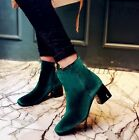 New Stylish Womens Velvet High Block Heel Shoes Square Toe Ankle Boots Plus SIZE