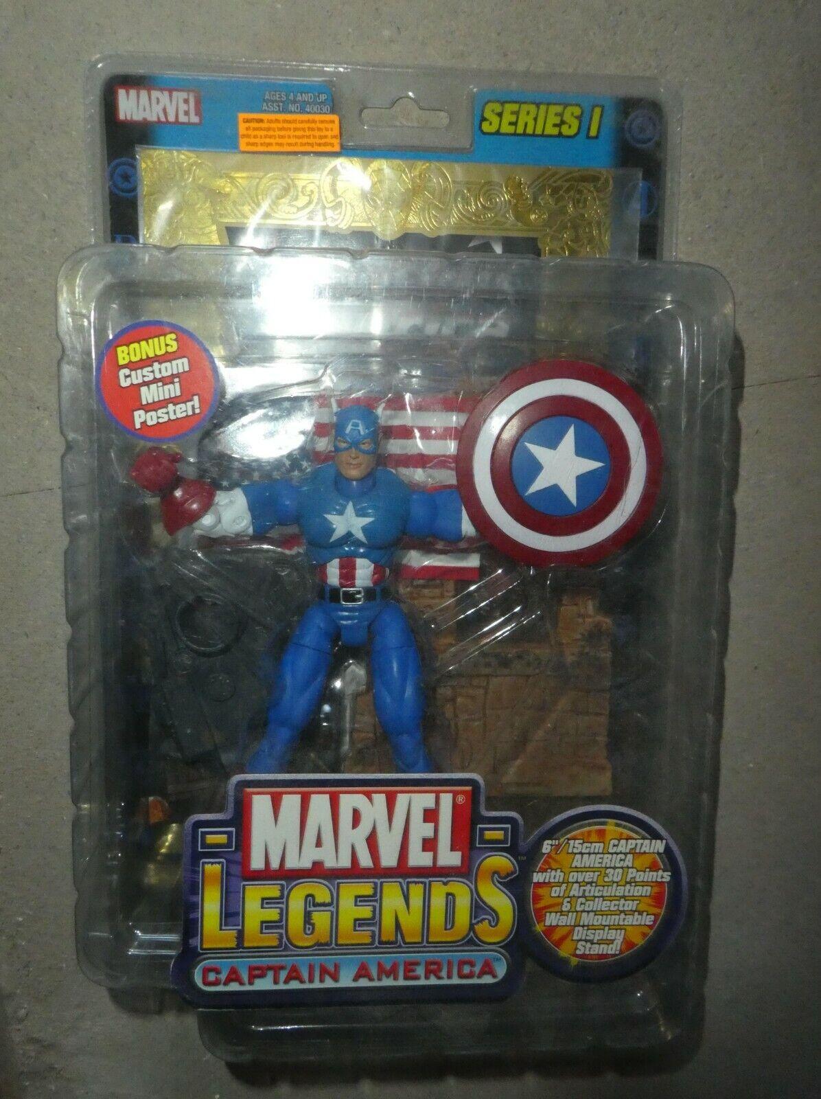 Marvel Comics CAPITAN AMERICA figura oro METALLIZZATO FUMETTO Legends Series 1 TOY BIZ