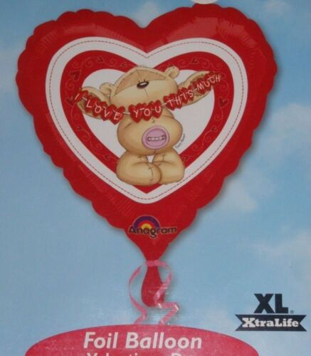 """18/""""FOIL BALLOON FIZZY MOON  VALENTINES BIRTHDAY ANNIVERSARY I LOVE YOU THIS MUCH"""