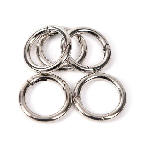 5pcs cerchio moschettone in metallo gancio a scatto rotondo clip portachiav W