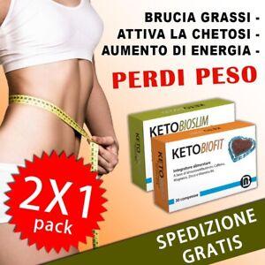 2x Keto Bio Slim e Bio Fit Integratore per Dimagrire Naturale Brucia Grassi Peso