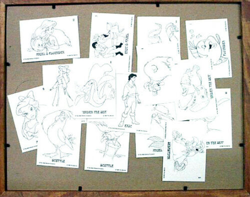 1991 Disney The Little Mermaid Coloring Cards Set