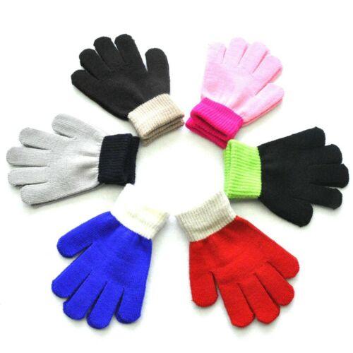 6Pairs Children Kids Magic Winter Gloves Colorblock Full Finger Warm Knit Gloves