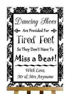Negro Y Blanco Zapatos de baile con los pies cansados Personalizado Boda Signo