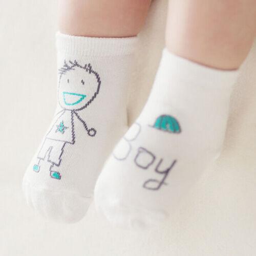Baby Newborn Infant Cotton Boy Girl Toddler Asymmetry Anti-Slip Floor Socks SW~
