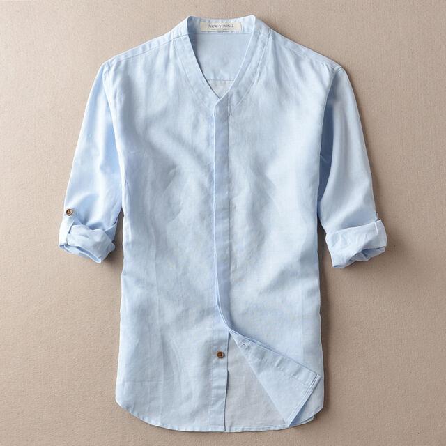 Mens Cotton Linen Shirts V-neck Summer Casual Shirt Full Sleeve Asian Size TS250
