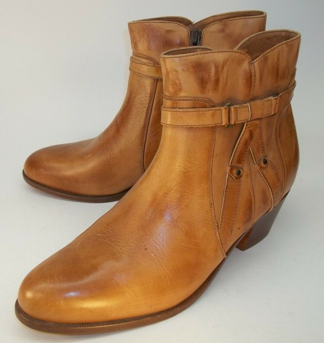 Giovanni Wos Stivali  8.5 Brown Pelle Zip Soles Straps Heels Ankle Booties