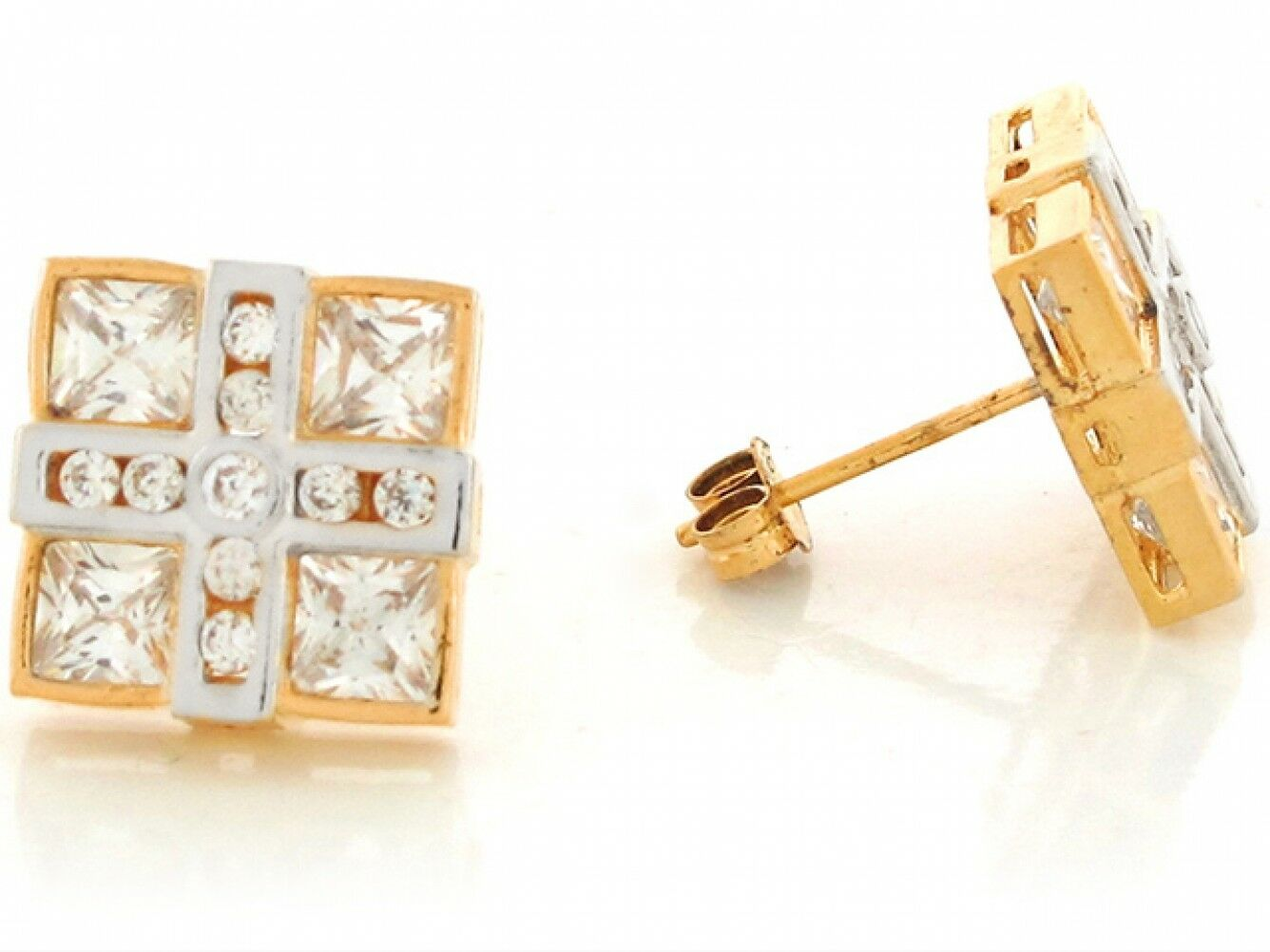 10k or 14k Two Tone Real gold White CZ Cluster 1.3cm Square Unique Post Earrings