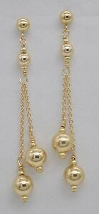 #BE168 New 14K Solid Yellow Gold Round Double Bead Drop/Dangle Earrings
