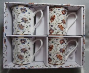 QUEENS-FINE-BONE-CHINA-MUGS-SET-4-INDIAN-SILK-NEW-IN-BOX-HIDW01671-2AT