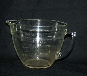 Vintage Fire King Batter Bowl Measuring Dish 8 Cup 2 Quart Clear Glass Spout