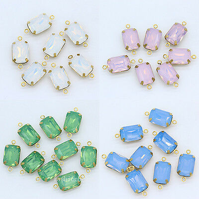 white pink opal octagon Crystal rhinestones pendants Link Connector Charms Beads