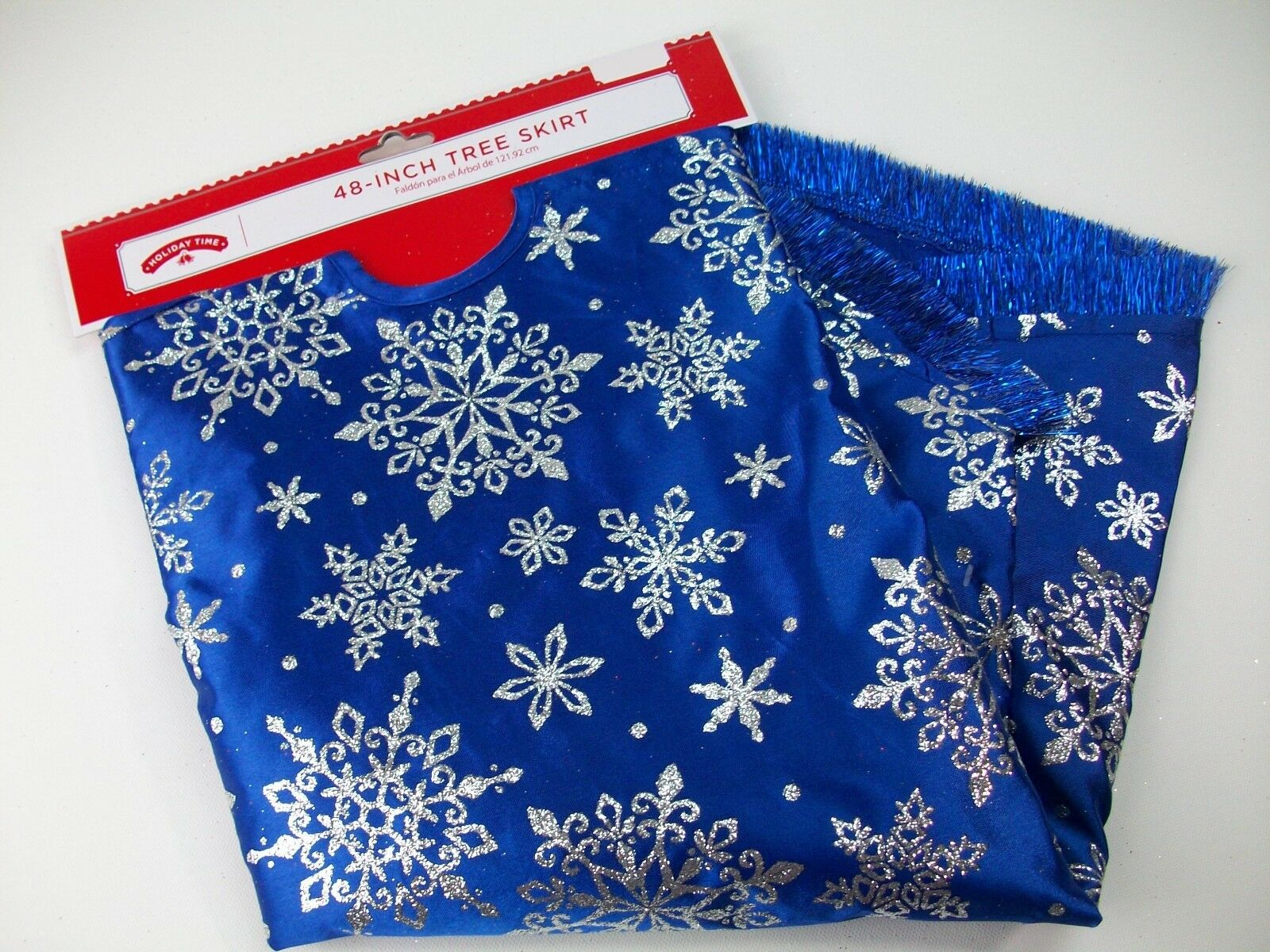 Holiday Time 48 Blue Satin Silver Glitter Star Snowflake Christmas Tree Skirt For Sale Online