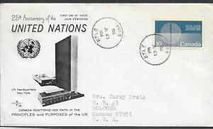 CANADA 1970 FIRST DAY COVER 25TH ANNIVERSARY OF UNITED NATIONS