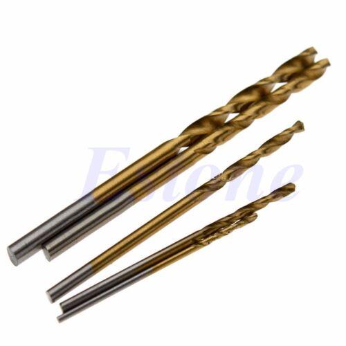 50Pcs 1//1.5//2//2.5//3mm Titanium Coated HSS High Speed Steel Drill Bit Set Tool