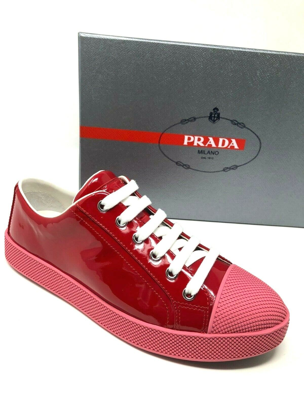 575 575 575 New PRADA Womens Sneakers Flats Red W  Pink Ladies shoes Size 37 38 7 8 eb00f9