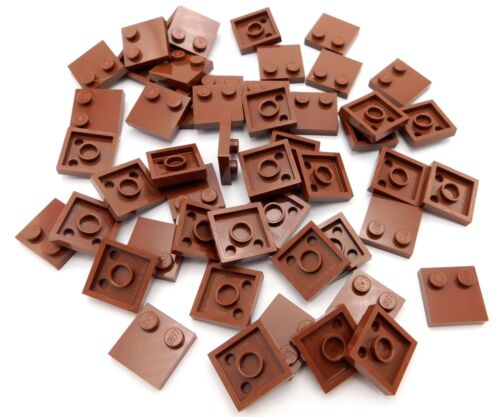 LEGO 50 NEW 2 X 2 REDDISH BROWN TILES PLATES WITH 2 STUDS PIECES