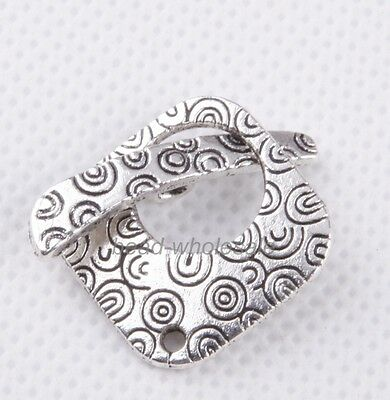 10sets Tibetan Silver Square Decorative Pattern Toggle Clasps Findings