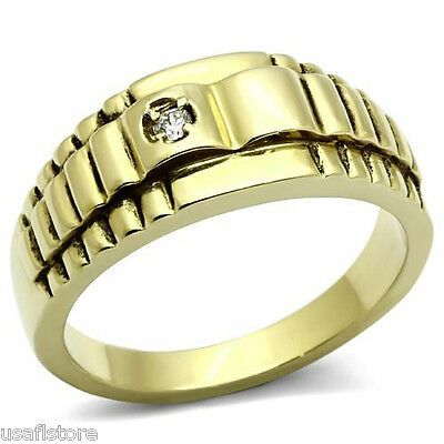 0.08ct Small Clear CZ Stone Gold EP Mens Stainless Steel Ring