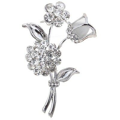 Silver Plated Rose Flower Shape Carve Full Shining Brooch