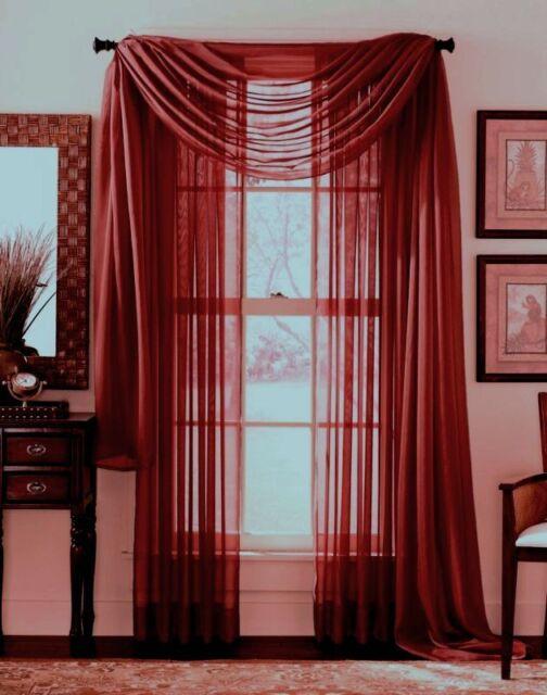 linda voile sheer solid window scarf burgundy 55x216